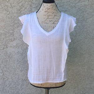 Michael Stars 🌟 White Ruffle Blouse Shirt 👚